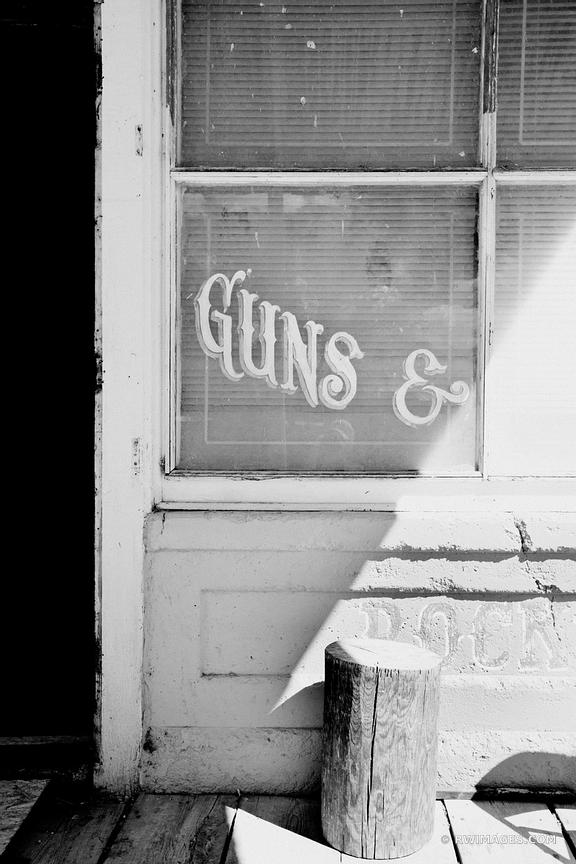 OLD COUNTRY STORE GUN SHOP RURAL TOWN TURQUOISE TRAIL NEW MEXICO BLACK AND WHITE
