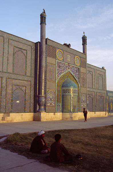Men outside the Hazrat Ali Mosque, Mazar-i-Sharif, Afganistan