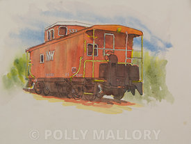 Abingdon Caboose, original watercolor illustration,  unframed