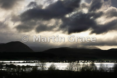 Dramatic view of flooded Strathspey looking towards Glen Tromie, Scottish Highlands
