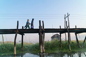 A pier at a village on Inle Lake, a freshwater lake located in the Nyaungshwe Township of Taunggyi District of Shan State, part of Shan Hills in Myanmar (Burma).