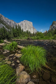 View up Yosemite Valley in Yosemite National Park