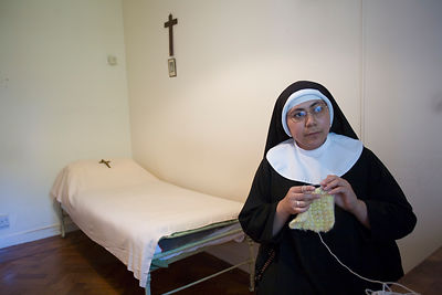 Mother Marie Chanelle knitting