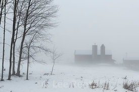 Amish Barn on a Foggy Winter Day