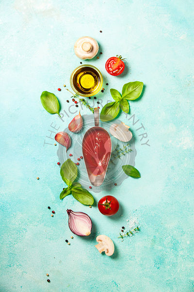 Fresh ingredients on blue stone background