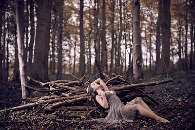 Fashion shoot with Rebecca Harrison-Stokes in the woods in Autumn