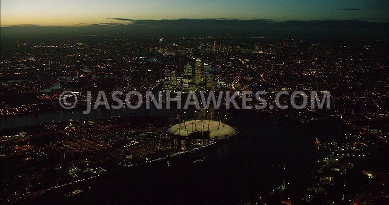 London night aerial footage, O2 at night.
