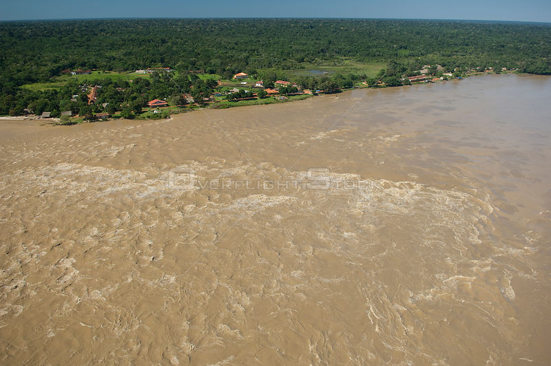 Aerial view of rapids on the Beni River at Cachuela Esperanza, Pando Department (border with Beni Department), Northeastern Bolivia.