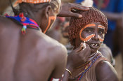 Face painting at a Hamer Bull Jumping Ceremony, Turmi, South Omo Valley, Ethiopia