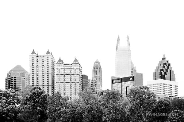 PIEDMONT PARK AND MIDTOWN ATLANTA GEORGIA BLACK AND WHITE