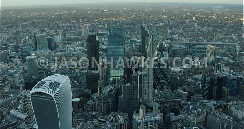London Aerial Footage of City of London 20 Fenchurch Street and 30 St Mary's Axe.
