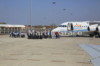 Party of school children visiting Maun International Airport, Botswana