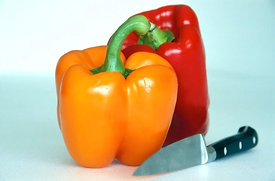 Sweet peppers and knife, Franche-comte, France