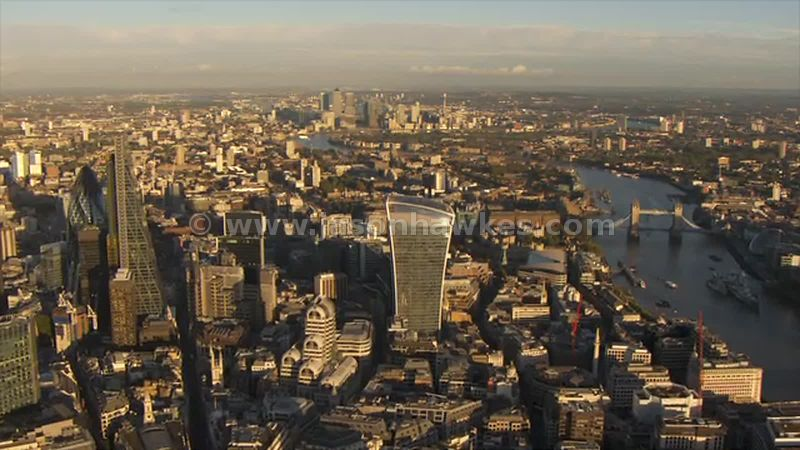 Aerial footage of the City and Wapping, London