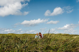 Danish woman and girl together in the dunes in Thy 4