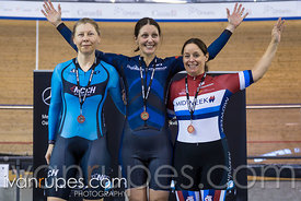 Master Women 500m Time Trial Podium. Ontario Track Championships, March 4, 2018