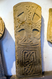 Disc-headed slab cross, Margam Stones Museum, Neath Port Talbot, South Wales, UK.