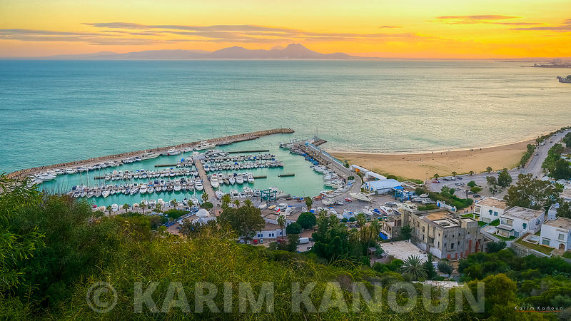 Unesco Sidi Bou Said harbour view at sunset time