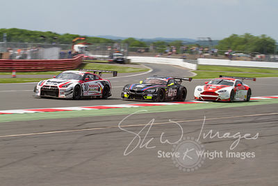 Fighting for position at the Silverstone 500 - the third round of the British GT Championship 2014 - 1st June 2014