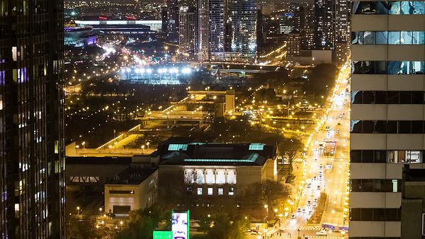 Bird's Eye: Close Up Looking Over Michigan Avenue and Grant Park