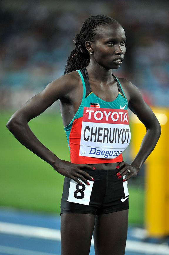 Vivian Cheruiyot from Kenya at the stsrting point of the 500m final at the 2011 IAAF World Championships,Athletics,Daegu,S.Korea
