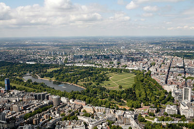 aerial photograph of Hyde Park  London England UK. Also in the foreground of the photo are  Knightsbridge, Westminster, London SW1X 7LY,  Grosvenor Crescent Mews SW1X 7EX,  Place SW1X 7RL ,  William St, Knightsbridge SW1X 9HL , Wilton Crescent and the Sheraton Park Tower Hotel