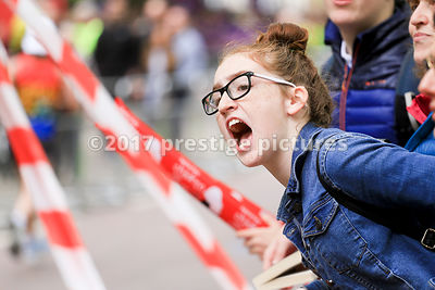 Supporter Shouting for runners in the London Marathon