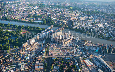 Aerial view of London, Nine Elms development with Grosvenor Bridge and Chelsea Bridge.