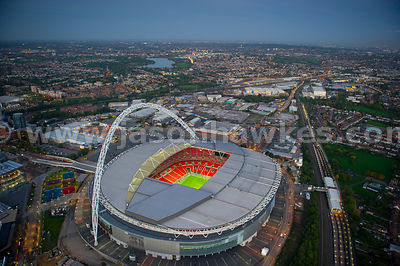 Aerial view of Wembley Stadium at dusk, London Borough of Brent, London