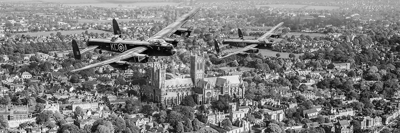 Two Lancasters over Lincoln BW version