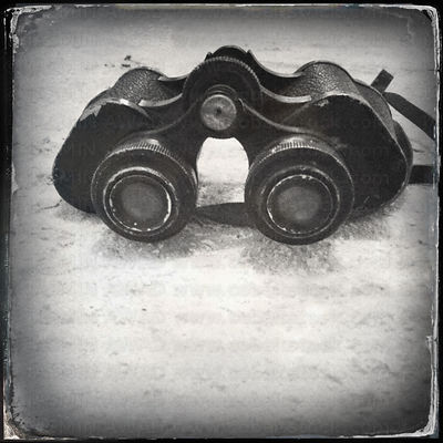 Old fashioned German binoculars with digital wet plate filter effect .Cologne, Germany