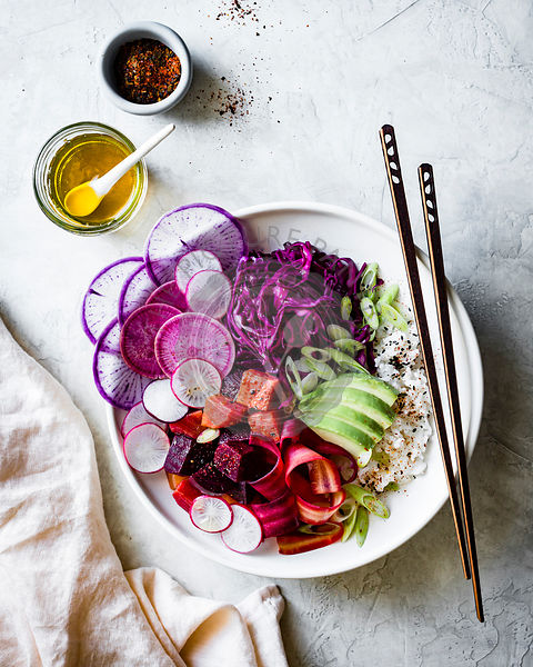 Vegan and gluten free beet poke bowls
