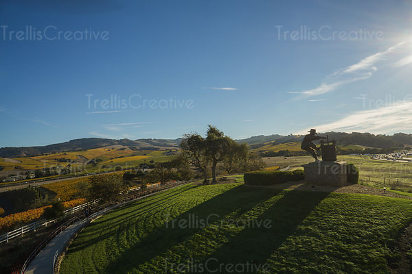 Aerial photo of Napa Valley's grape crusher statue in fall season