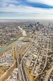 Aerial view of city hall and West Village - Calgary, AB