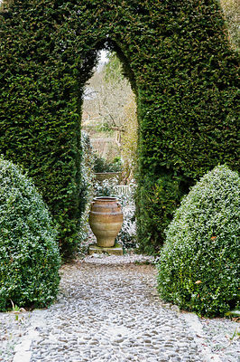 A pebble path flanked by clipped box leads towards an opening in a yew hedge framing a large terracotta urn.