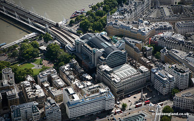 aerial photograph of Charing Cross railway station England UK