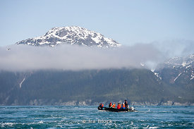 People from National Geographic Sea Lion taking a zodiac cruise around the Inian Islands, South Eastern Alaska.