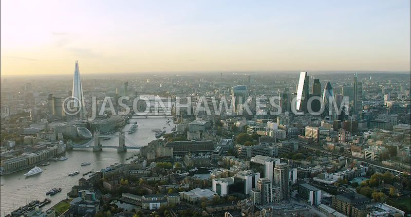 London Aerial Footage of City of London skyline from Tower Hamlets.