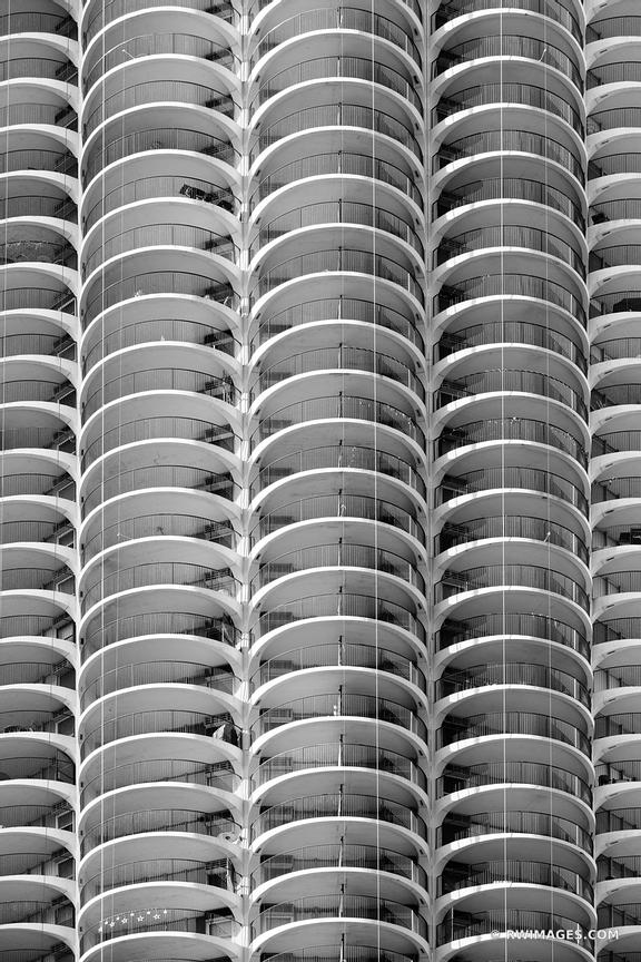 MARINA TOWER CORNCOB BUILDING CLOSE UP MODERN ARCHITECTURE ABSTRACT CHICAGO ILLINOIS BLACK AND WHITE VERTICAL