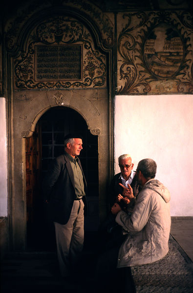 Men talking in a mosque, Tirana
