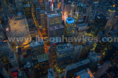 Night aerial view of the Rockefeller Center, Midtown Manhattan, New York City