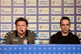Sergey BEBESHKO of Meshkov Brest, Xavi SABATE of Veszprem during the Final Tournament - Final Four - SEHA - Gazprom league, press conference, Croatia, 31.03.2016, ..Mandatory Credit ©SEHA/Nebojša Tejić.