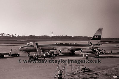 Fast Convairs preferred | Convair CV-880M's  JA8021 of JAL and VR-HFS of Cathay | Singapore Paya Lebar May 1963