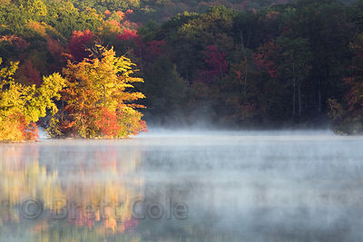 Morning mist rising off of a lake fringed by autumn foliage in the Adirondacks, New York