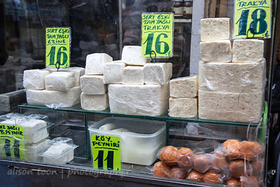 Feta cheese and dairy products in the spice market, Istanbul