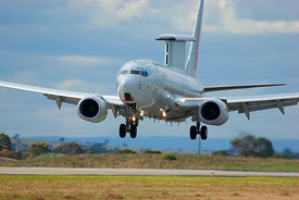 RAAF Wedgetail early warning aircraft coming into land