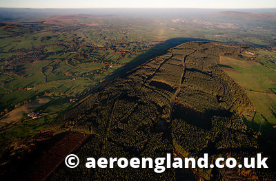 aerial photograph of Longridge Fell  , a cuesta in  the Forest of Bowland  Lancashire England