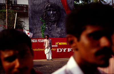 India - Kerala - The face of Che Guevara looks over a Communist Party rally