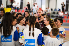 Timur Dibirov with kids during the Final Tournament - Kids day - Final Four - SEHA - Gazprom league, Skopje, 14.04.2018, Mandatory Credit ©SEHA/ Nebojsa Tejic