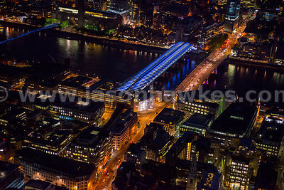 Aerial view of Blackfriars Station at night, London